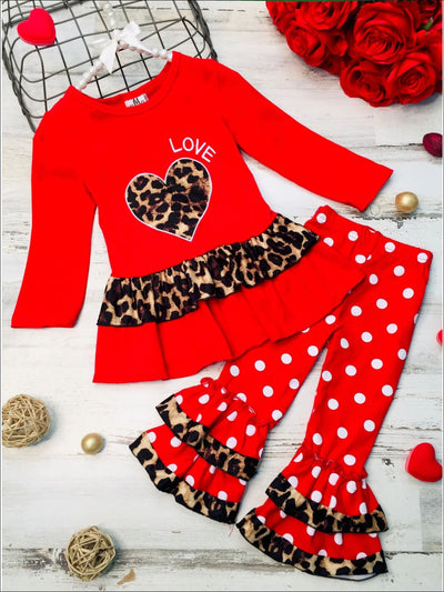 Girls Heart Themed Ruffled Heart Applique Top & Ruffled Polka Dot Leggings Set - Red / XS-2T - Girls Fall Casual Set