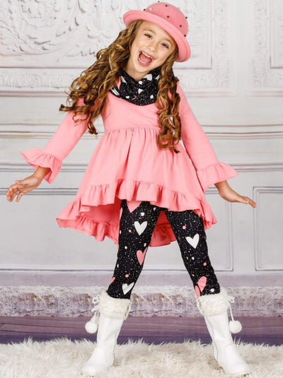 Girls Heart Themed Ruffled Long Sleeve Tunic Heart Print Leggings & Scarf Set - Pink / 2T - Girls Fall Casual Set
