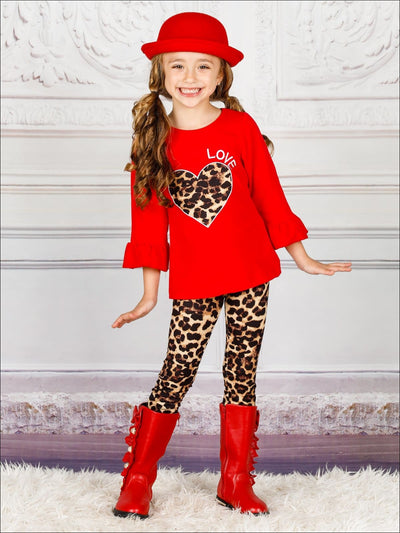 Girls Heart Themed Ruffled Sleeve Heart Applique Top & Animal Print Leggings Set - Red / 2T - Girls Fall Casual Set