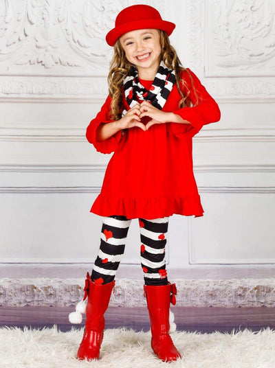Girls Heart Themed Ruffled Tunic Printed Leggings & Scarf Set - Girls Fall Casual Set