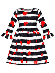 Girls Heart Themed Striped Heart Print Flared Sleeve Dress - Fall Low Stock