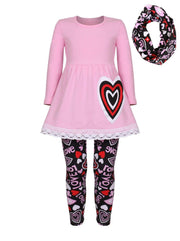 Girls Heart Themed Heart Tunic with Crochet Trim Love Print Leggings & Scarf Set - Girls Fall Casual Set