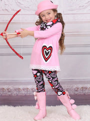 Girls Heart Themed Heart Tunic with Crochet Trim Love Print Leggings & Scarf Set - Pink / XS-2T - Girls Fall Casual Set