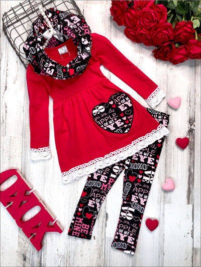 Girls Heart Themed Heart Tunic with Lace Trim Love Prints Leggings & Scarf Set - Red / 3T - Girls Fall Casual Set