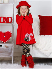 Girls Heart Tunic Leopard Leggings and Scarf Set - Girls Fall Casual Set