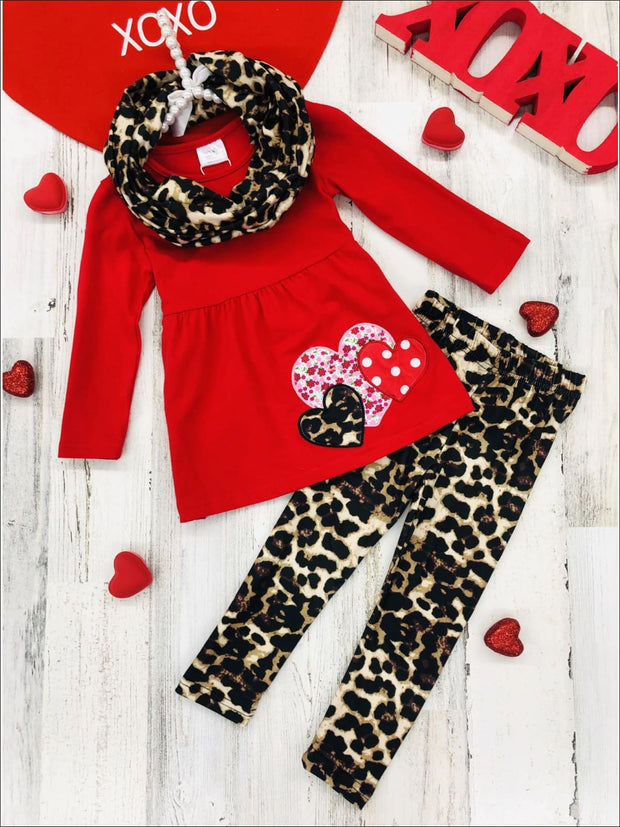 Girls Heart Tunic Leopard Leggings and Scarf Set - Red / 2T - Girls Fall Casual Set