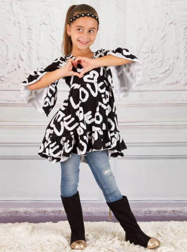 Girls Hi-Lo Boho Sleeve Ruffled Tunic - Girls Fall Top