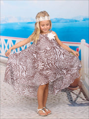 Girls Hi-Lo Circle Neck Twirl Dress - Girls Spring Dressy Dress