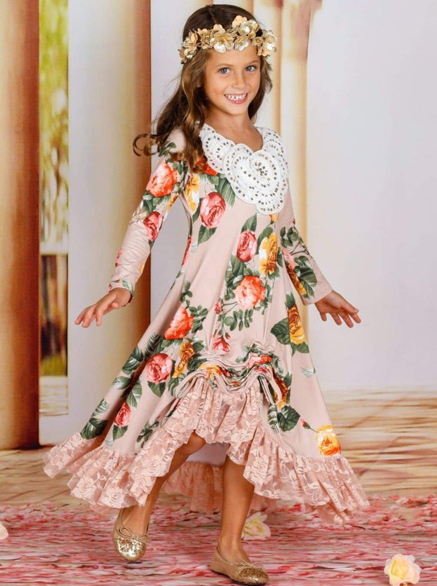 Girls Hi-Lo Drawstring Dress with Lace Ruffled Hem & Sequin Collar - Girls Fall Dressy Dress