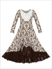 Girls Hi-Lo Drawstring Dress with Lace Ruffled Hem & Sequin Collar - Brown / 2T-3T - Girls Fall Dressy Dress