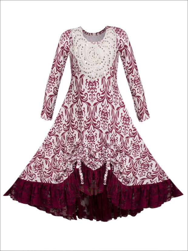 Girls Hi-Lo Drawstring Dress with Lace Ruffled Hem & Sequin Collar - Burgundy / 2T-3T - Girls Fall Dressy Dress