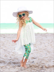 Girls Hi-Lo Flower Trim Ruffle Tunic & Leggings Set - Girls Spring Casual Set