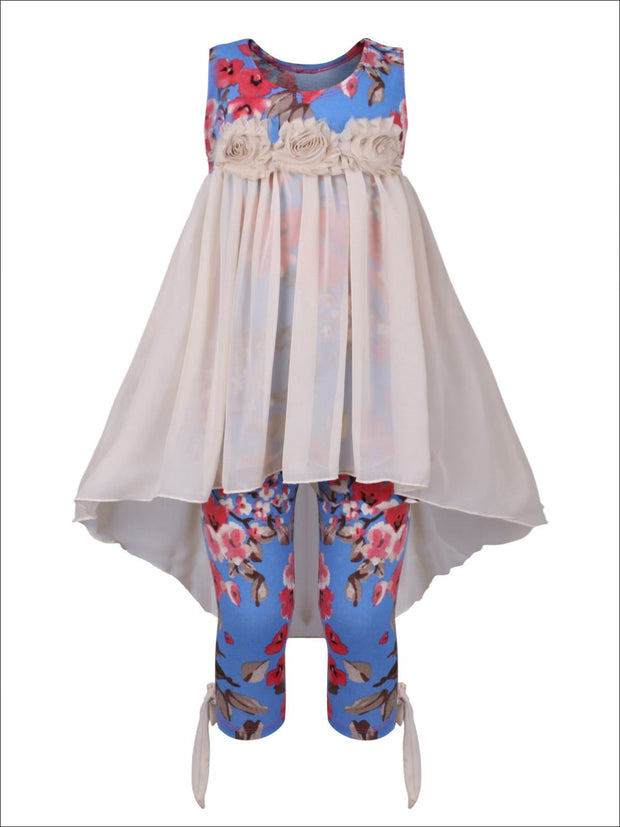 Girls Hi-Lo Flower Trim Ruffle Tunic & Leggings Set - Blue / 2T/3T - Girls Spring Casual Set