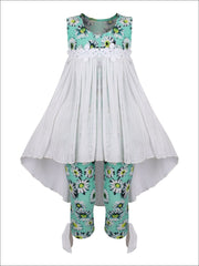 Girls Hi-Lo Flower Trim Ruffle Tunic & Leggings Set - Mint / 2T/3T - Girls Spring Casual Set