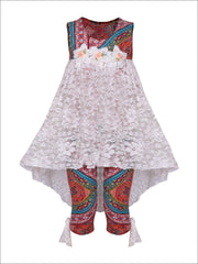 Girls Hi-Lo Flower Trim Ruffle Tunic & Leggings Set - Multicolor / 2T/3T - Girls Spring Casual Set