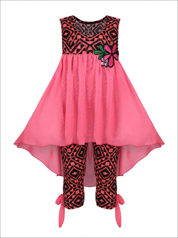 Girls Hi-Lo Flower Trim Ruffle Tunic & Leggings Set - Pink / 2T/3T - Girls Spring Casual Set