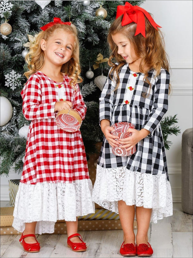 Girls Hi-Lo Gingham Long Sleeve Rose Lace Hem Dress - Girls Fall Dressy Dress