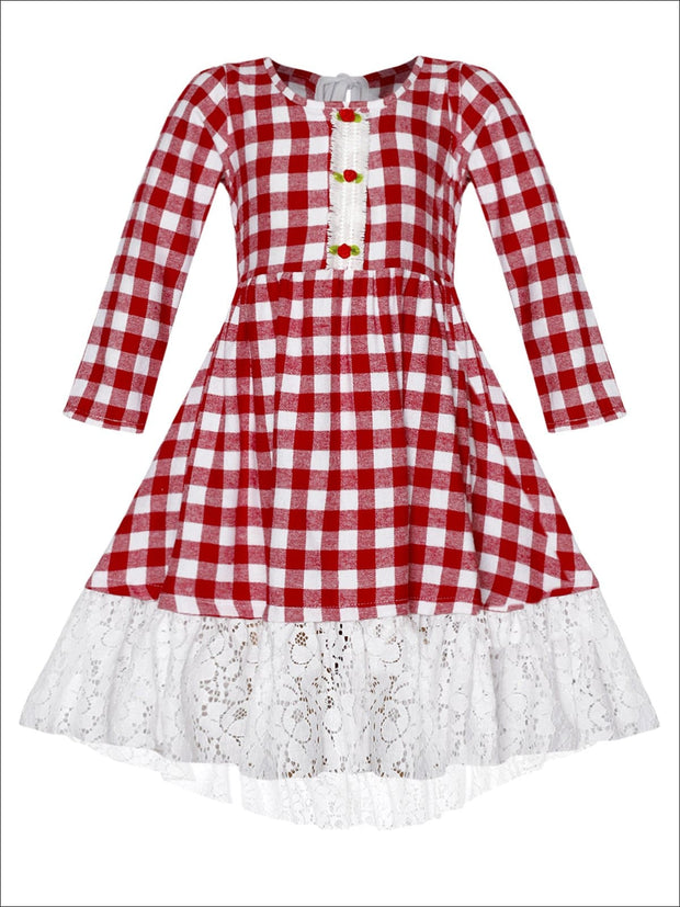 Girls Hi-Lo Gingham Long Sleeve Rose Lace Hem Dress - Red / 2T/3T - Girls Fall Dressy Dress
