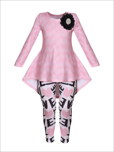 Girls Hi-Lo Long Sleeve Trimmed Tunic & Matching Leggings Set - Pink / 2T/3T - Girls Fall Casual Set