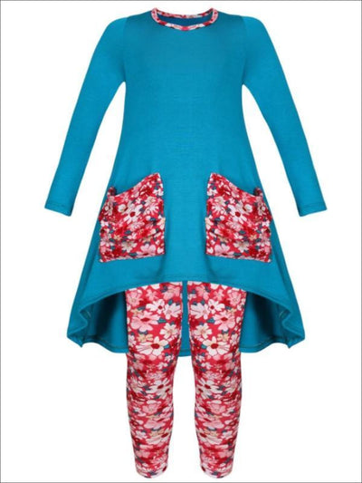 Girls Hi-lo Long Sleeve Tunic with Floral Slouchy Pockets & Floral Leggings Set - Blue / 2T/3T - Girls Fall Casual Set