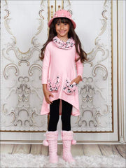 Girls Hi-lo Long Sleeve Tunic with Slouchy Pockets & Matching Leggings & Scarf Set - Girls Fall Casual Set