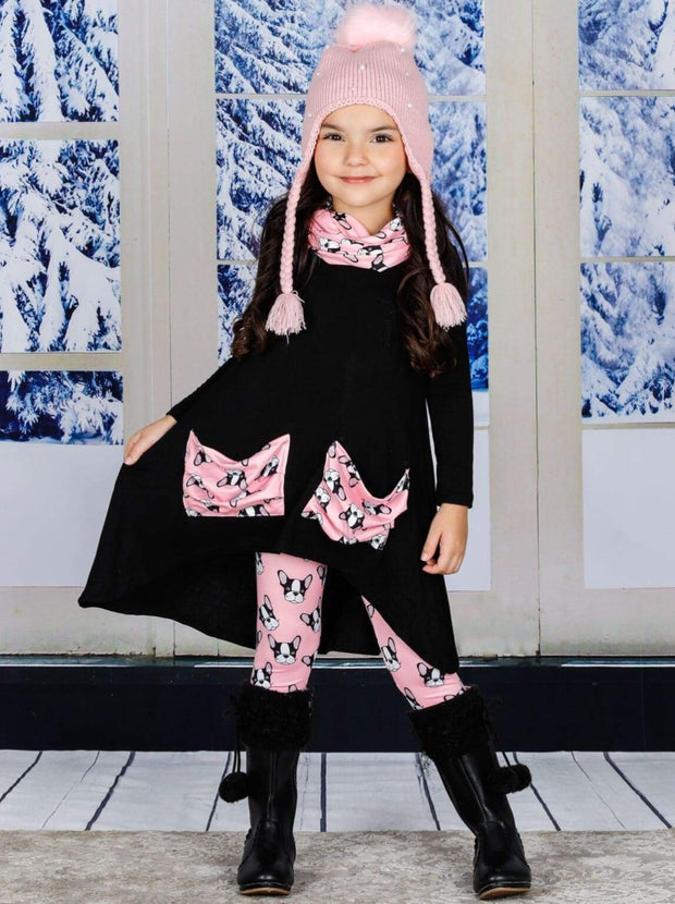 Girls Hi-lo Long Sleeve Tunic with Slouchy Pockets & Matching Leggings & Scarf Set - Black / 2T/3T - Girls Fall Casual Set