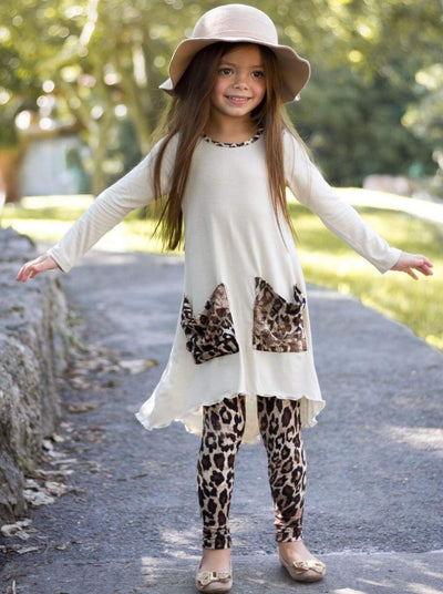 Girls Hi-lo Long Sleeve Tunic with Slouchy Pockets & Matching Leggings Set - Girls Fall Casual Set