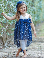 Girls Hi-Lo Overlay Ruffle Tunic & Leggings Set - Navy / 2T/3T - Girls Spring Casual Set