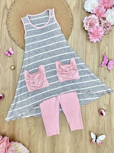 Girls Hi-Lo Pocket Tunic and Leggings Set - Grey / 2T/3T - Girls Spring Casual Set