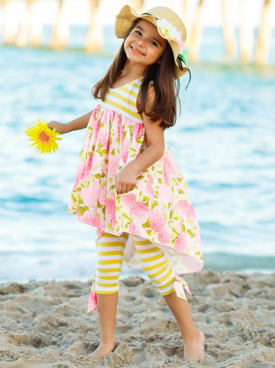 Girls Hi-Lo Ruffle Overlay Tunic & Bow Leggings Set - Girls Spring Casual Set