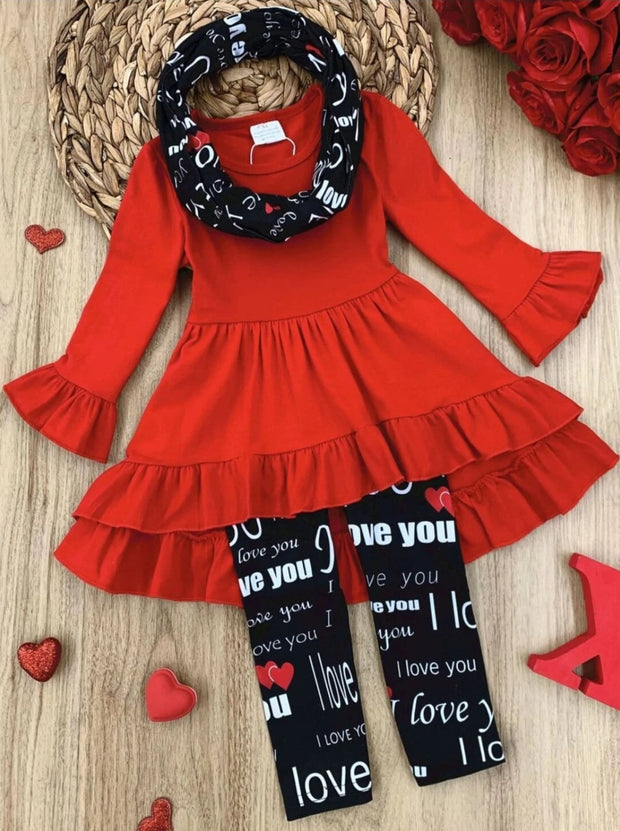 Girls Hi-Lo Ruffled Tunic I Love You Leggings and Scarf Set - Black / 2T - Girls Fall Casual Set