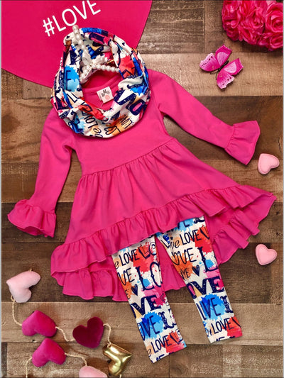 Girls Hi-Lo Ruffled Tunic Love Polka Dot Leggings and Scarf Set - Hot Pink / 2T - Girls Fall Casual Set