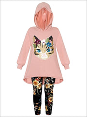 Girls Hi-Lo Sequin Cat Applique Hooded Sweatshirt & Floral Leggings Set - Dusty Pink / 2T/3T - Girls Fall Casual Set