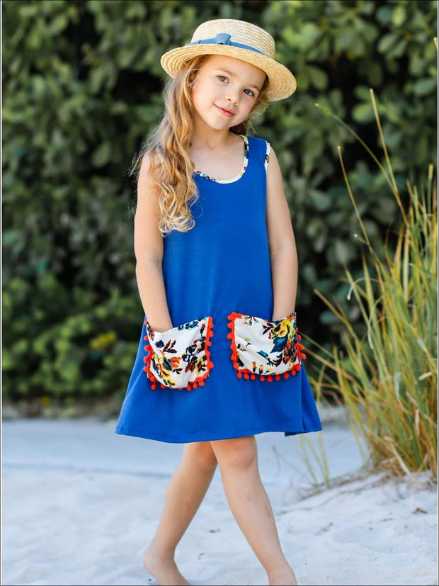 Girls Hi-Lo Slouchy Pocket Dress - Girls Spring Casual Dress