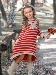 Girls Hi-Lo Striped Sweater Dress with Floral Applique - Girls Fall Casual Dress
