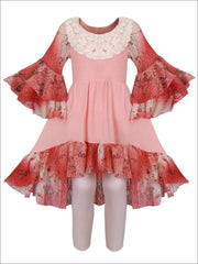 Girls Hi-Lo Tiered Flared Lace Sleeve and Hem Tunic & Leggings Set - Pink / 2T/3T - Girls Spring Dressy Set