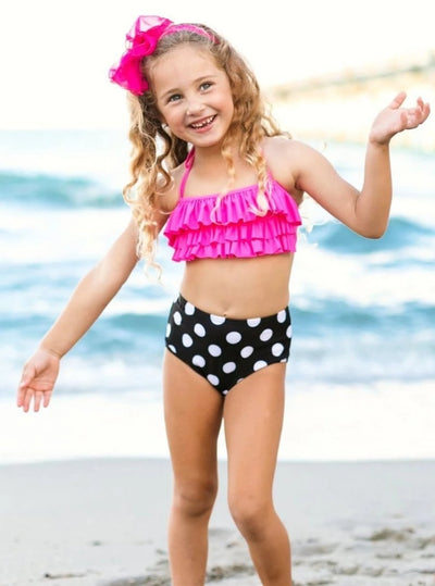 Girls High Waisted Polka Dot & Ruffled Halter Bandeau Two Piece Swimsuit - Girls Two Piece Swimsuit
