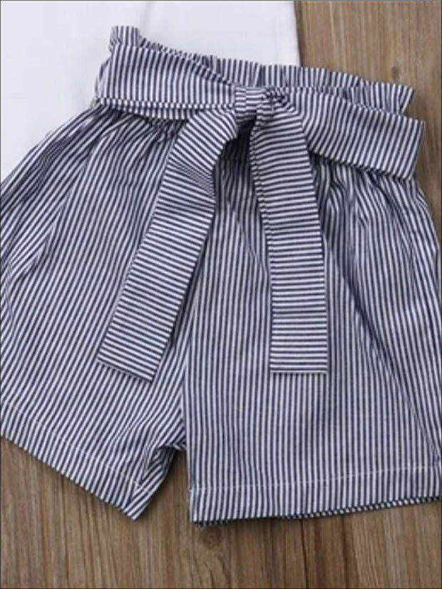Girls High Waister Black Striped Belted Shorts & Matching White Neck Tie Sleeveless Top - Girls Spring Casual set