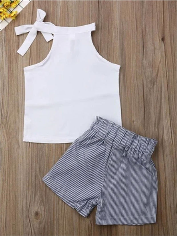 Girls High Waister Black Striped Belted Shorts & Matching White Neck Tie Sleeveless Top - White / 2T - Girls Spring Casual set
