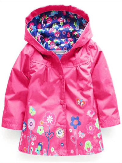 Girls Hooded Floral Print Raincoat - Girls Jacket