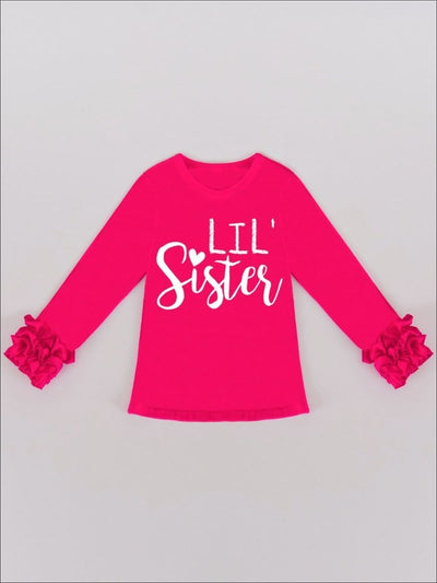 Girls Hot Pink Lil Sister Ruffled Long Sleeve Graphic Top