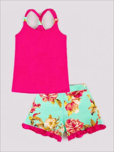 Girls Hot Pink Tank Top & Floral Print Shorts Set - Hot Pink / 2T - Girls Spring Casual Set