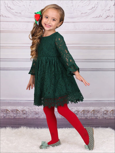 Girls Hunter Green Full Lace Dress - Girls Fall Dressy Dress