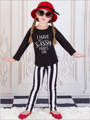 Girls I Have My Sassy Pants On Long Sleeve Graphic Statement Top - Girls Fall Top