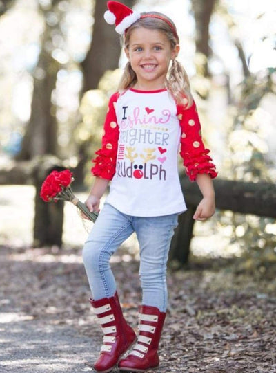 Girls I Shine Brighter than Rudolph Graphic Raglan Top with 3/4 Ruffled Polka Dot Sleeves - White / XS-2T - Girls Christmas Top