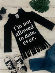 Girls Im Not Allowed to Date Ever Cold Shoulder Fringe Graphic Statement Top - Girls Fall Top