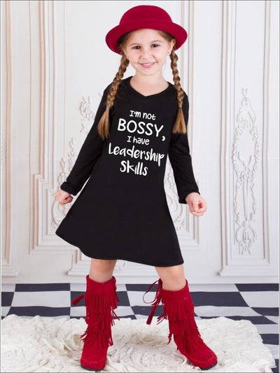 Girls Im Not Bossy I Have Leadership Skills Long Sleeve V-Neck Graphic Statement Dress - Girls Fall Casual Dress
