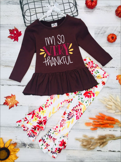Girls Im So Very Thankful Peplum Tunic & Tiered Ruffled Floral Leggings Set - Brown / 2T - Girls Fall Casual Set