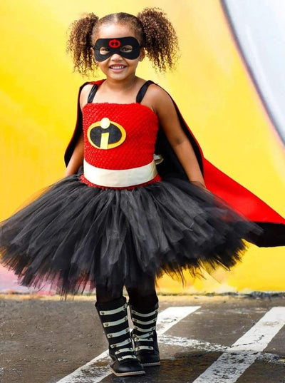 Girls Incredible Superhero Tutu Halloween Costume with Mask and Cape - Girls Halloween Costume