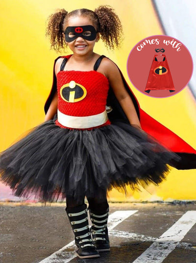 Girls Incredible Superhero Tutu Halloween Costume with Mask and Cape